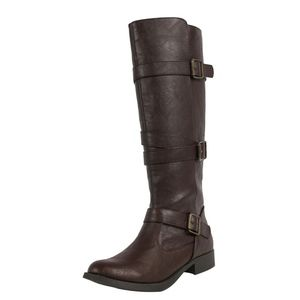 Shoes - Brown Strappy Knee High Low Heel Riding Boot